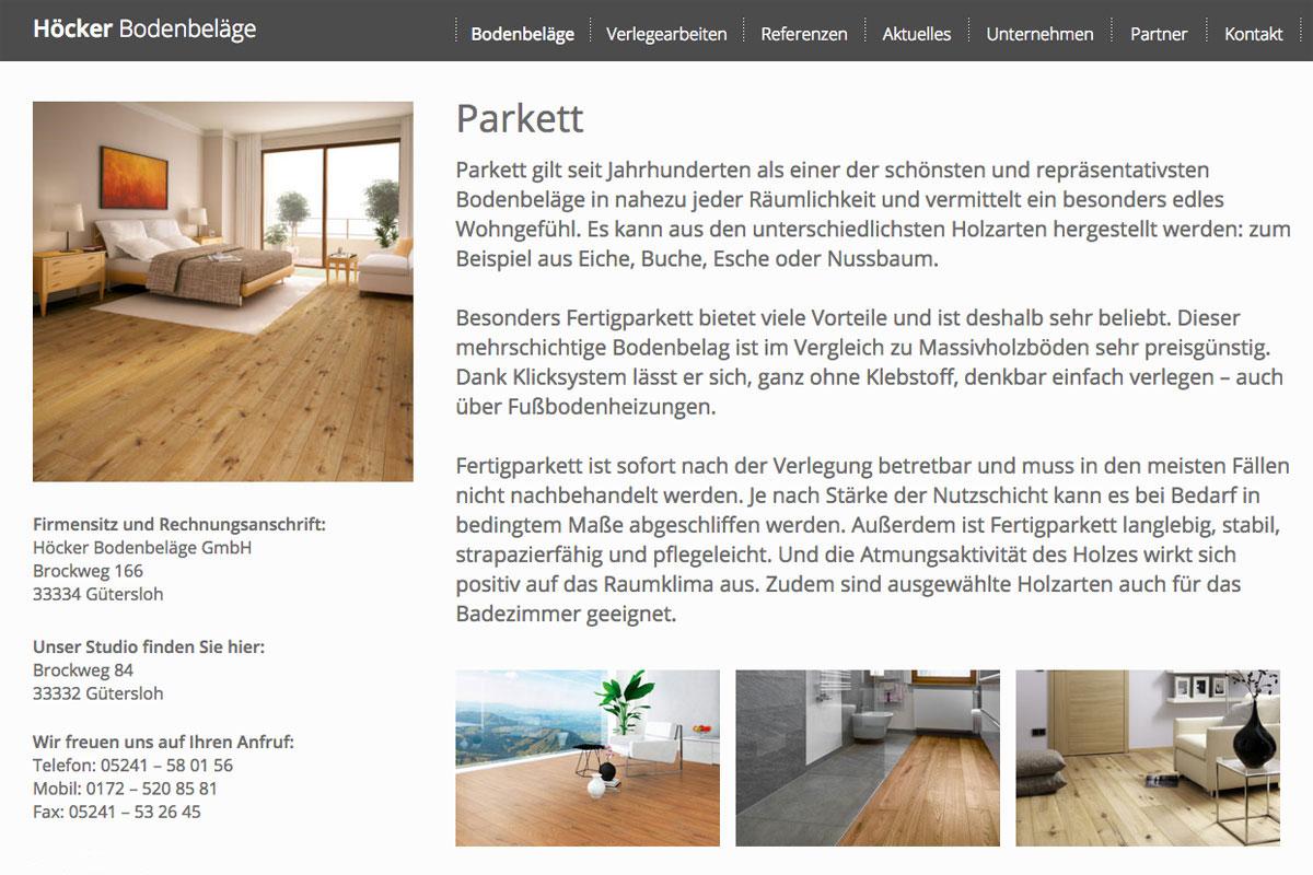 Höcker Bodenbeläge | Web | Referenz | Impuls Werbeagentur | Werbung ...