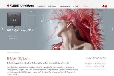 Website Referenz Klebe GmbH Beleuchtungstechnik