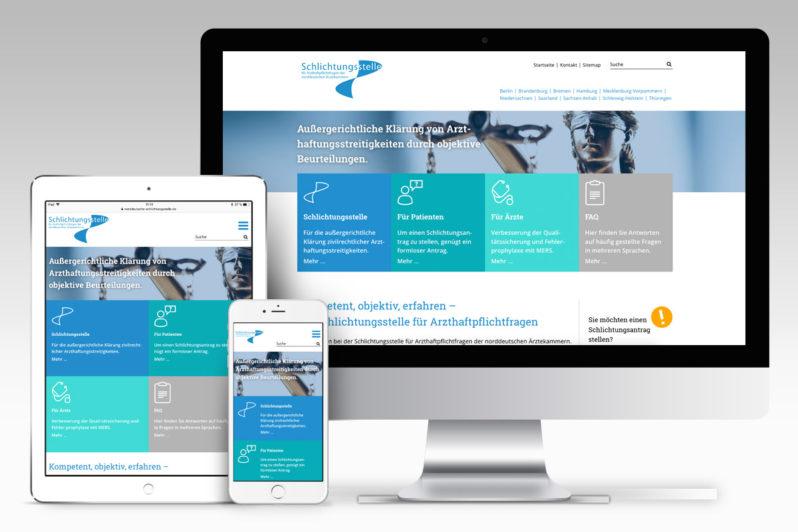 Website-Referenz Schlichtungsstelle für Arzthaftpflichtfragen der norddeutschen Ärztekammern