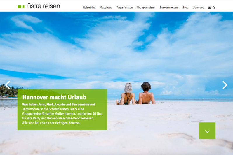Website-Referenz üstra Reisen