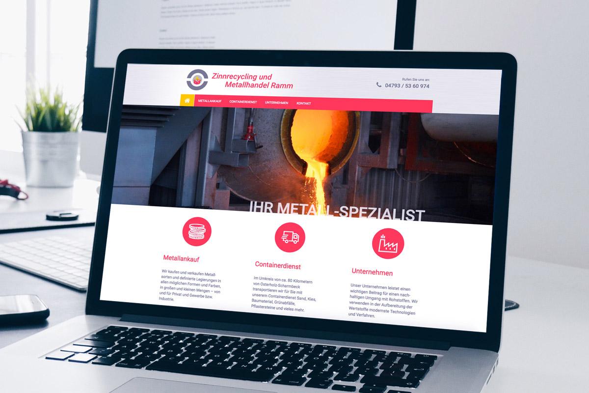 Website Referenz Zinnrecycling und Metallhandel Ramm