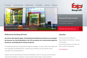 Bauprofil Koch Website Referenz
