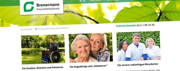 Neue Webseite für Bremermann Gesundheitsdienste