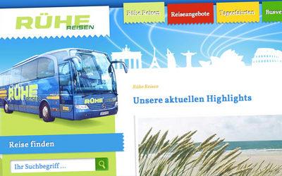 Rühe Reisen Internetseite