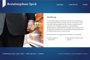 Website- Referenz Bestattungshaus Speck